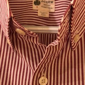 "J.CREW Red and White Striped ""Washed Casual"" Shirt"